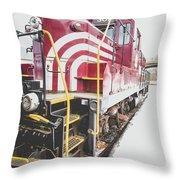 Vintage Train Locomotive Throw Pillow