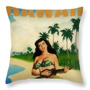 Vintage Travel Hawaii Throw Pillow