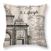Vintage Travel Poster Madrid Throw Pillow