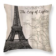 Vintage Travel Poster Paris Throw Pillow