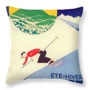 Vintage Travel Skiing Throw Pillow