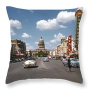 Vintage View Downtown Austin Looking Up Congress Avenue In Front Throw Pillow