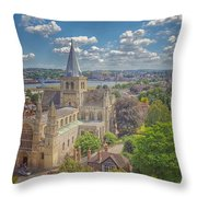 Vintage View Of The Cathedral Throw Pillow