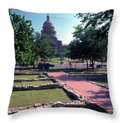 Vintage View Of The Foundation Of The First Texas Capitol That Burned Down In 1836 Throw Pillow