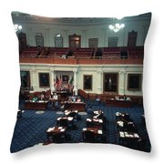 Vintage View Of The Senate Chamber, The Texas Capitol, May 1990 Throw Pillow