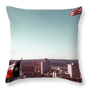 Vintage View Of The Texas And Usa Flags Flying On Top Of Texas State Capitol Throw Pillow