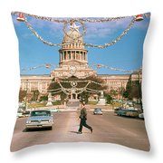 Vintage View Of The Texas State Capitol And Christmas Decorations Strung Along Congress Avenue From December 1960 Throw Pillow