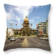 Vintage View Of The Texas State Capitol And Downtown Austin From September 1968 Throw Pillow