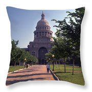 Vintage View Of The Texas State Capitol In Downtown Austin, Texas Throw Pillow