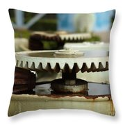 Vintage Water Pump With Gears Throw Pillow
