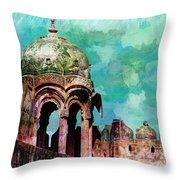 Vintage Watercolor Gazebo Ornate Palace Mehrangarh Fort India Rajasthan 2a Throw Pillow