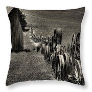 Vintage Wheel Fence Throw Pillow by David Patterson