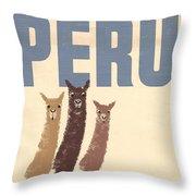 Vintage Wild Life Travel Llamas Throw Pillow