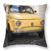 Vintage Yellow Fiat 500 In Rome Throw Pillow