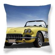 Vintage Yellow 'vette Throw Pillow