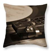 Vinyl Record Playing On A Turntable In Sepia Throw Pillow