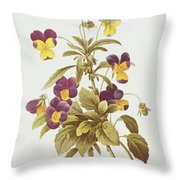 Viola Tricolour  Throw Pillow by Pierre Joseph Redoute