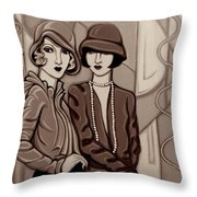 Violet And Rose In Sepia Tone Throw Pillow
