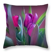 Violet Colored Tulips Throw Pillow