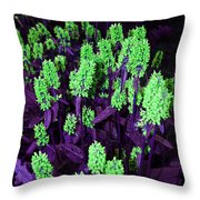 Violet Dream On Green Throw Pillow