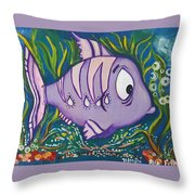 Violet Fish Throw Pillow