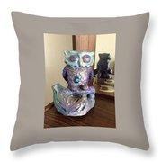 Violet Owl Throw Pillow