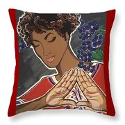 Violets And Dashiki Throw Pillow