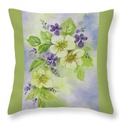 Violets And Wild Roses Throw Pillow