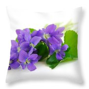 Violets On White Background Throw Pillow