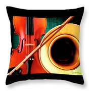 Violin And French Horn Throw Pillow