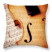 Violin And Musical Notes Throw Pillow