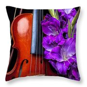 Violin And Purple Glads Throw Pillow by Garry Gay