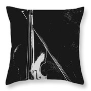 Violin Bow Black And White Throw Pillow