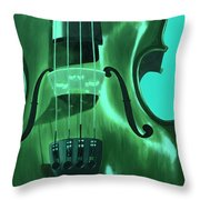 Violin In Green Throw Pillow
