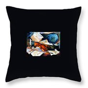 Violin - Palette Knife Oil Painting On Canvas By Leonid Afremov Throw Pillow