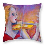 Violin Player Throw Pillow
