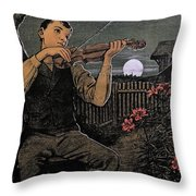 Violin Player To The Moon Throw Pillow