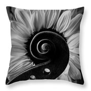 Violin Scroll And Sunflower In Black And White Throw Pillow