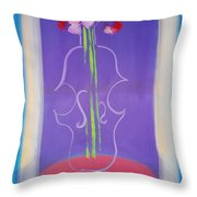 Violin Vase Throw Pillow