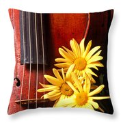 Violin With Daises  Throw Pillow