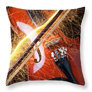 Violin With Sparks Flying From The Bow Throw Pillow by Garry Gay