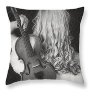 Violin Woman - Id 16218-130643-9888 Throw Pillow
