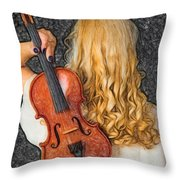 Violin Woman - Id 16218-130709-0128 Throw Pillow