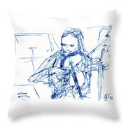 Violinist In Blue II Throw Pillow
