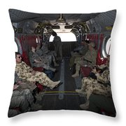 Vips In A Ch-47 Chinook Helicopter Throw Pillow