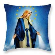 Virgen Milagrosa Throw Pillow by Bibi Romer