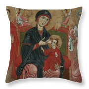 Virgin And Child Enthroned With Saints Leonard And Peter And Scenes From The Life Of Saint Peter Throw Pillow