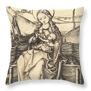 Virgin And Child On A Grassy Bench Throw Pillow
