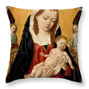 Virgin And Child With Two Angels Throw Pillow