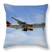 Virgin Atlantic Boeing 747-443 Throw Pillow
